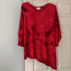 Red Sequined Festive Asymmetrical Top Size XL